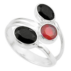 3.50cts halloween natural cornelian onyx silver adjustable ring size 7 t57892