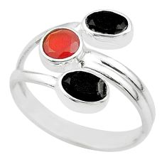 3.73cts halloween natural cornelian onyx silver adjustable ring size 7 t57897