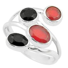 3.71cts halloween natural cornelian onyx silver adjustable ring size 8 t57863