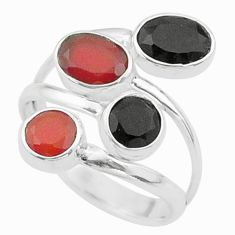 4.25cts halloween natural cornelian onyx silver adjustable ring size 8 t57865