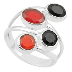 3.83cts halloween natural cornelian onyx silver adjustable ring size 6.5 t57864