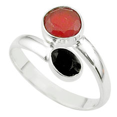 3.66cts halloween natural cornelian onyx silver adjustable ring size 9.5 t57877