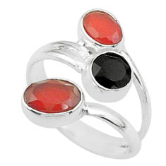 3.51cts halloween natural cornelian onyx silver adjustable ring size 5.5 t57882