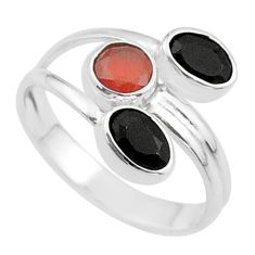 3.80cts halloween natural cornelian onyx silver adjustable ring size 8.5 t57891