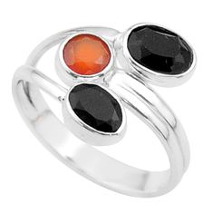 Clearance Sale- 3.71cts halloween natural cornelian onyx silver adjustable ring size 8.5 t57896