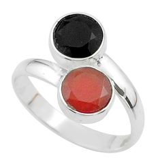 Clearance Sale- 5.47cts halloween natural cornelian onyx silver adjustable ring size 9.5 t57961