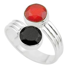 5.58cts halloween natural cornelian onyx silver adjustable ring size 7.5 t57977