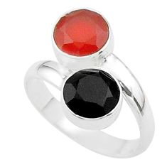 5.22cts halloween natural cornelian onyx silver adjustable ring size 7.5 t57997