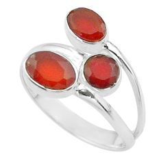 4.03cts halloween natural cornelian oval silver adjustable ring size 9 t57884