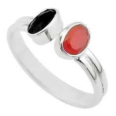 Clearance Sale- 2.30cts halloween natural onyx cornelian silver adjustable ring size 8 t57697