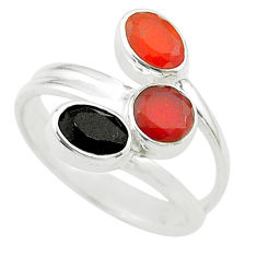 Clearance Sale- 3.31cts halloween natural onyx cornelian silver adjustable ring size 6.5 t57690