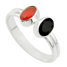 2.00cts halloween natural onyx cornelian silver adjustable ring size 7.5 t57695
