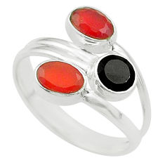 Clearance Sale- 3.08cts halloween natural onyx cornelian silver adjustable ring size 6.5 t57702