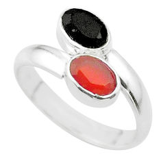 Clearance Sale- 2.10cts halloween natural onyx cornelian silver adjustable ring size 6.5 t57748