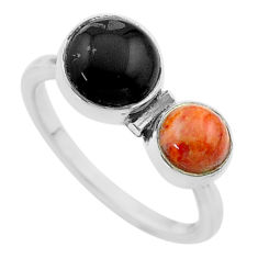 Clearance Sale- 4.43cts halloween natural onyx sponge coral 925 silver ring size 8.5 t57860