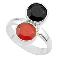 5.22cts halloween natural orange cornelian onyx 925 silver ring size 6 t57990