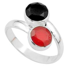 5.84cts halloween natural orange cornelian onyx 925 silver ring size 9 t57941