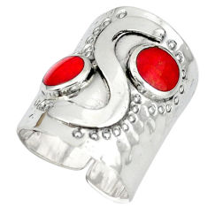Handmade coral 925 sterling silver adjustable ring jewelry size 6 c22342