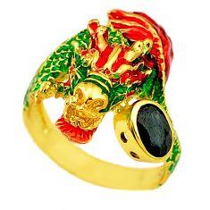 Handmade natural blue sapphire 925 silver gold dragon thai ring size 9 c21083
