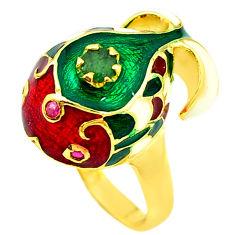 Handmade natural emerald ruby enamel 925 silver gold thai ring size 9 c21098