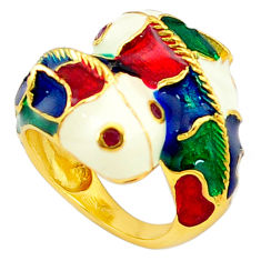 Handmade natural red ruby enamel 925 silver gold fish thai ring size 6 c21074