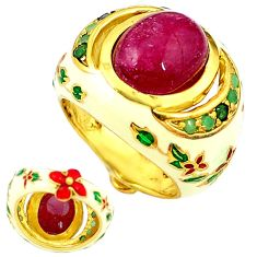 Handmade natural ruby emerald enamel 925 silver gold thai ring size 8.5 c21088