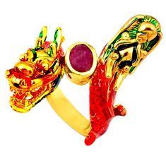 Handmade natural ruby enamel 925 silver gold dragon thai ring size 7.5 c21082