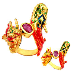 Handmade natural ruby enamel 925 silver gold dragon thai ring size 7.5 c21089