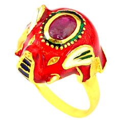Handmade natural ruby enamel 925 silver gold elephant thai ring size 8 c21084