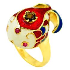 Handmade natural sapphire ruby enamel 925 silver gold thai ring size 7 c21090