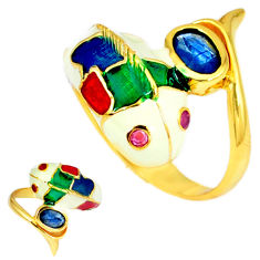 Handmade thai natural blue sapphire 925 silver gold dolphin ring size 8 c21118