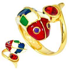 Handmade thai natural red garnet 925 silver 14k gold dolphin ring size 7 c21108
