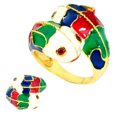 Handmade thai natural red garnet 925 silver gold dolphin ring size 8.5 c21065