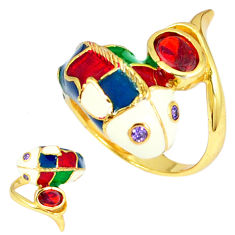 Handmade thai natural red garnet 925 silver gold dolphin ring size 6.5 c21105