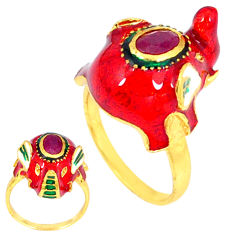 Handmade thai natural red ruby 925 silver 14k gold elephant ring size 5.5 c21081