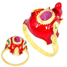 Handmade thai natural red ruby 925 silver 14k gold elephant ring size 8 c21099