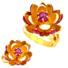 Handmade thai natural red ruby 925 silver 14k gold flower ring size 7.5 c21087