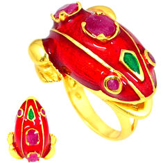 Handmade thai natural red ruby 925 silver 14k gold frog ring size 7 c21093
