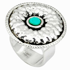 Handmade turquoise round 925 sterling silver adjustable ring size 7 c22345