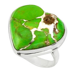 Heart green copper turquoise 925 sterling silver ring jewelry size 6 r44004