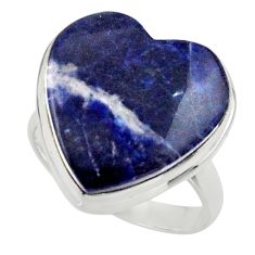 Heart natural blue sodalite 925 sterling silver ring jewelry size 9.5 r44036