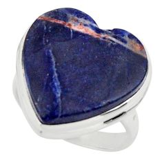 Heart natural blue sodalite 925 sterling silver ring jewelry size 7 r44029