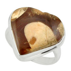 Heart natural brown peanut petrified wood fossil 925 silver ring size 6 r44031