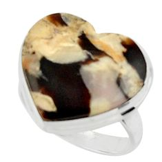 Heart natural brown peanut petrified wood fossil 925 silver ring size 7 r44025