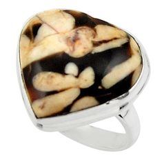 Heart natural brown peanut petrified wood fossil 925 silver ring size 7 r44030