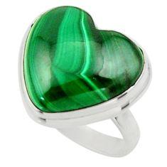 Heart natural green malachite (pilot's stone) 925 silver ring size 6.5 r44028