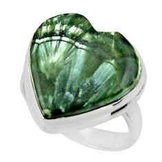 Heart natural green seraphinite (russian) 925 silver ring size 6.5 r44037