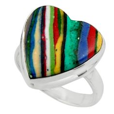 Heart natural multicolor rainbow calsilica 925 silver ring size 6.5 r44016