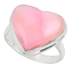 Heart natural pink opal 925 sterling silver ring jewelry size 8.5 r44021