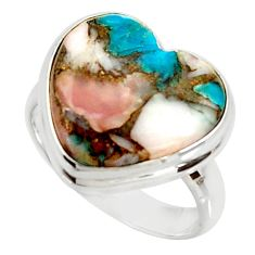 Heart natural pink opal in turquoise silver solitaire ring size 8.5 r34710